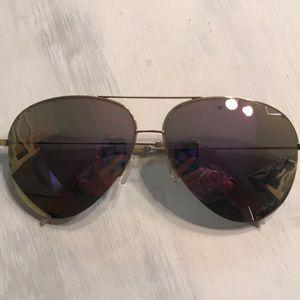 Victoria Beckham Pink Aviator Mirror Sunglasses